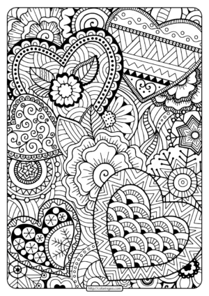Printable Zentangle Hearts Pdf Coloring Page