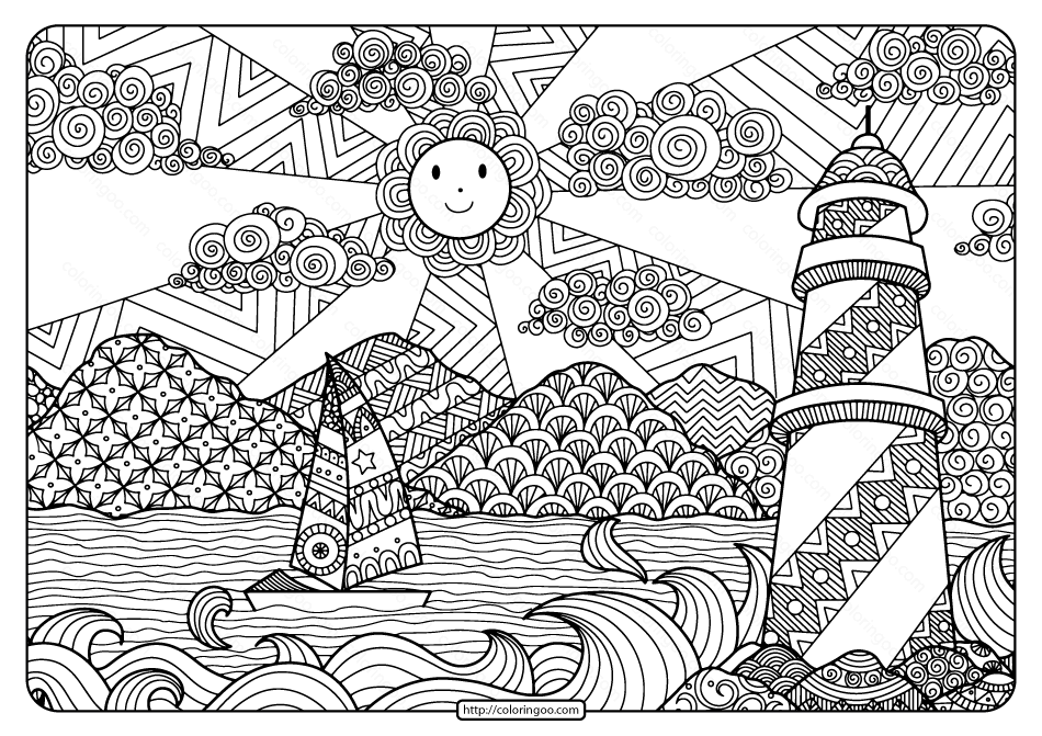 Printable Sailboat and Lighthouse Pdf Coloring Page