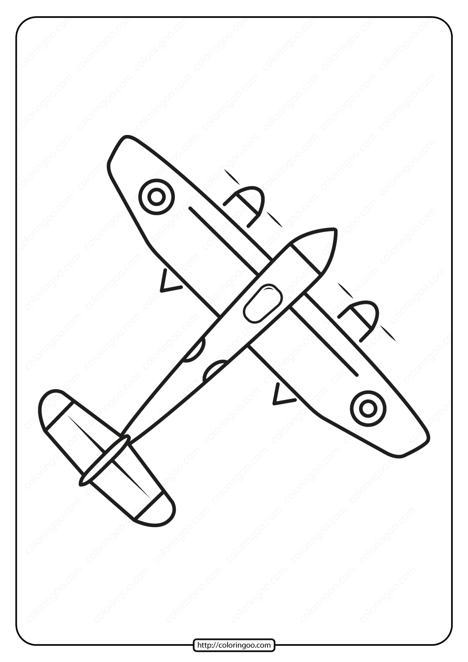 Free Printable Airplane Coloring Page