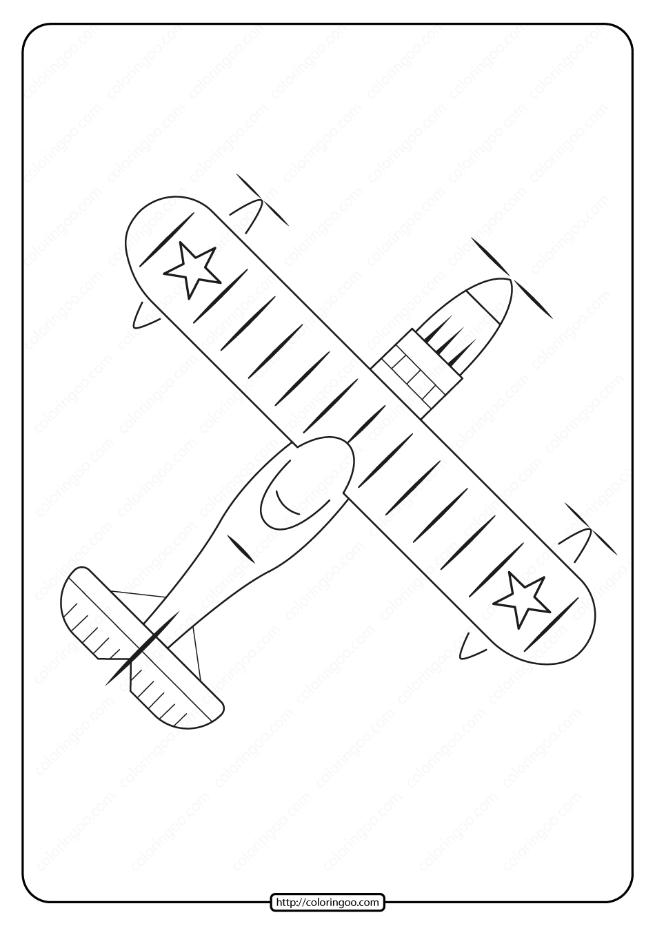 Free Printable Airplane Pdf Coloring Page 09