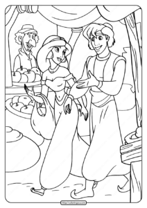 Free Printable Aladdin and Jasmine Coloring Page