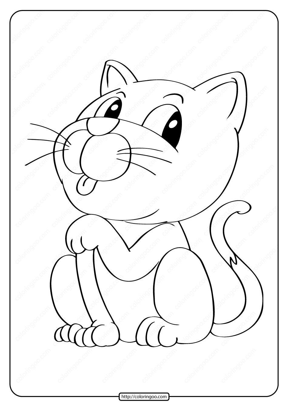 Free Printable Animals Kitten Pdf Coloring Page