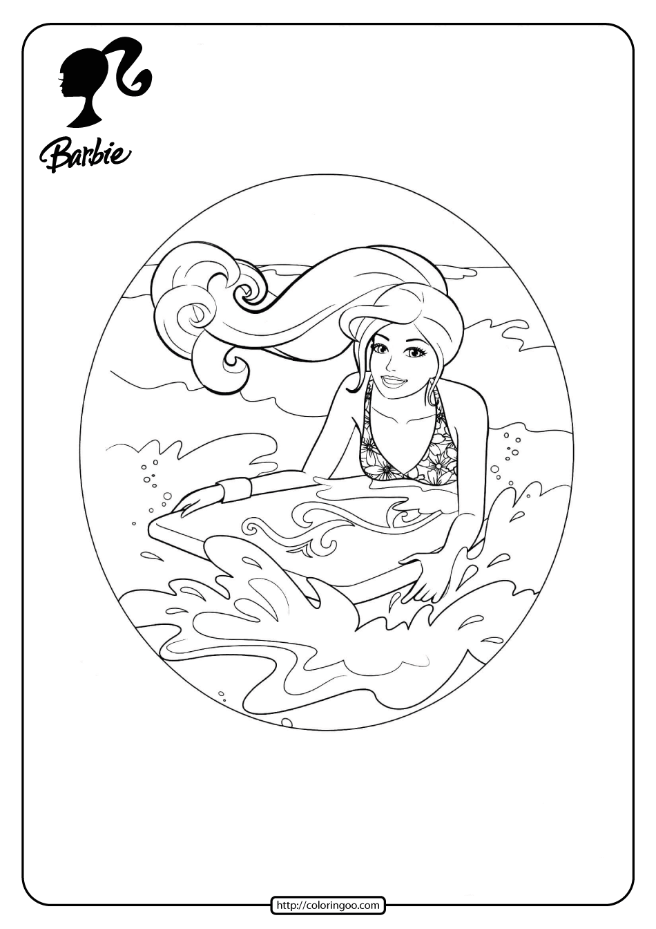 Free Printable Barbie Surfing Pdf Coloring Pages 11