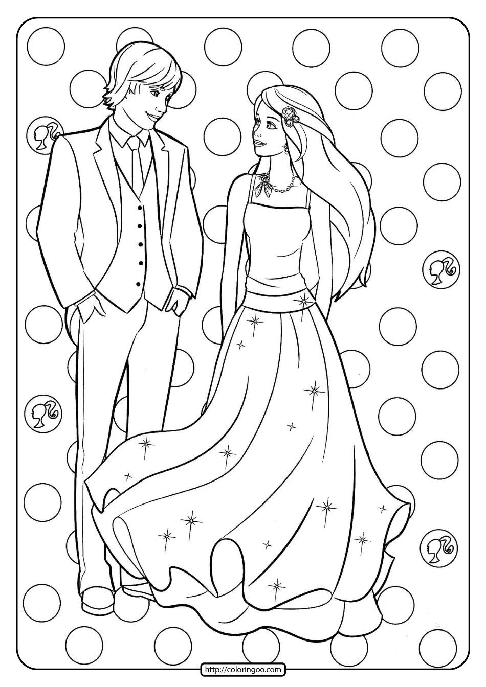 Free Printable Barbie and Ken Pdf Coloring Pages 14