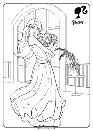 Printable Barbie Hug the Flowers Coloring Pages 15