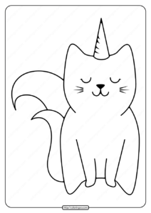 Free Printable Cute Caticorn Pdf Coloring Page