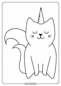 Free Printable Cute Caticorn Pdf Coloring Page