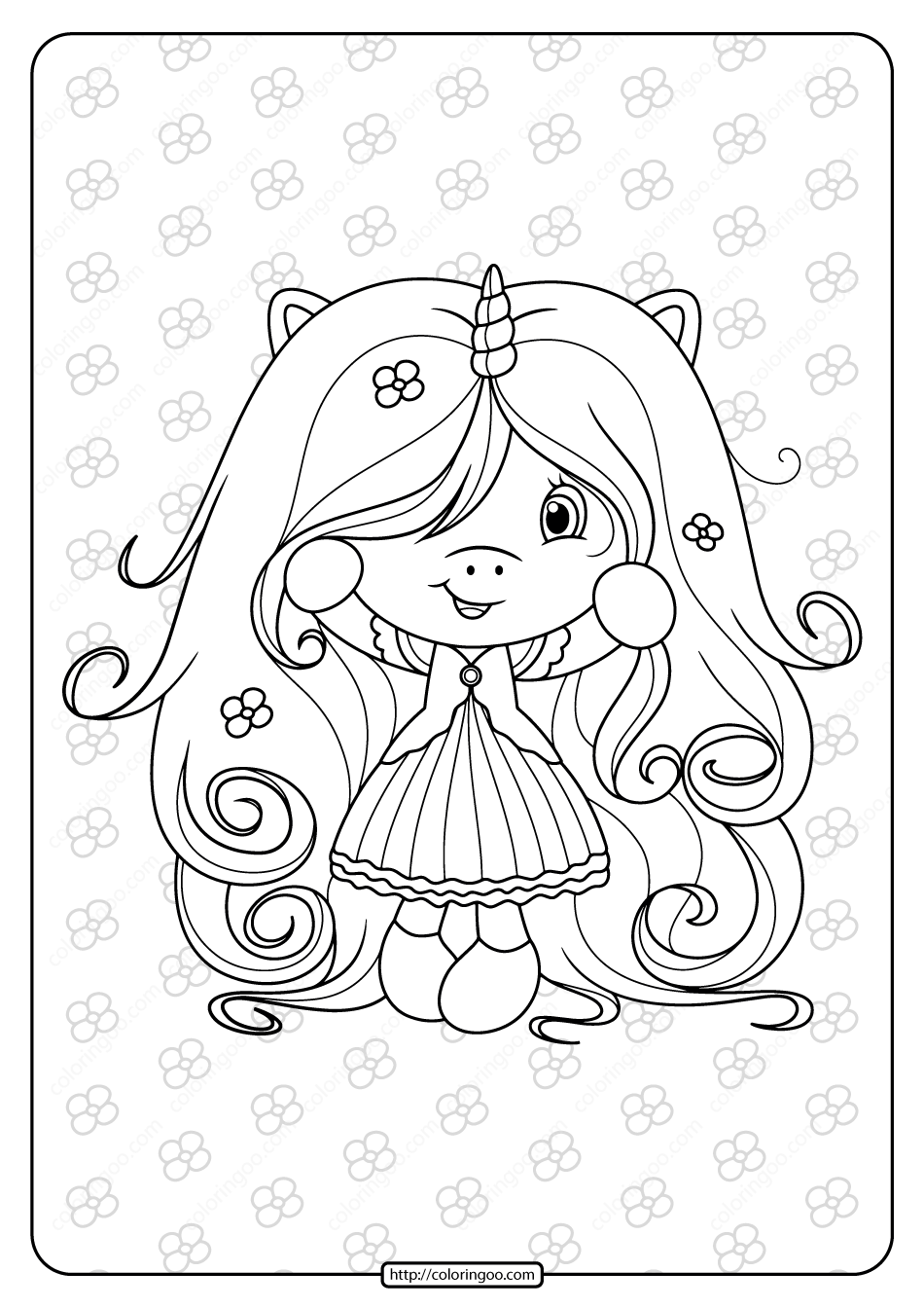 Free Printable Cute Girl Unicorn Coloring Page