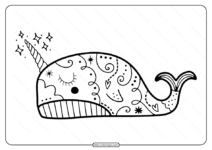 Free Printable Cute Narwhal Pdf Coloring Page