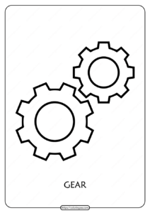 Free Printable Gear Outline Pdf Coloring Page