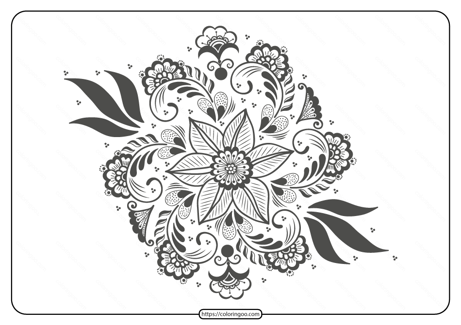 Free Printable Illustration of Mehndi Ornament - 02