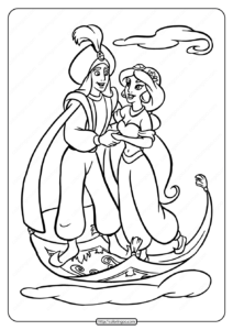 Printable Jasmine Found Her Prince Coloring Page