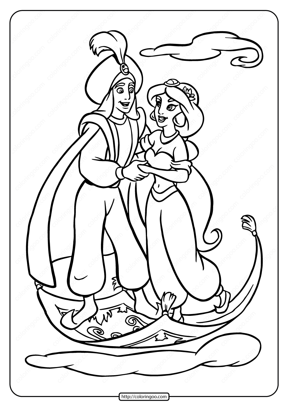 Printable Jasmine Found Her Prince Coloring Page