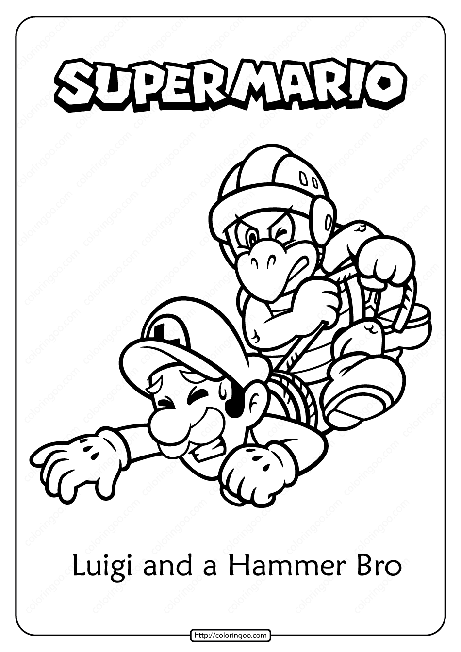 Free Printable Luigi and Hammer Bro Coloring Page