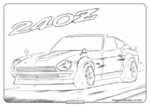 Free Printable Nissan 240Z Fairlady Coloring Page