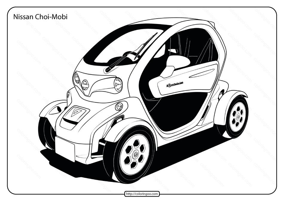 Free Printable Nissan Choi-Mobi Pdf Coloring Page