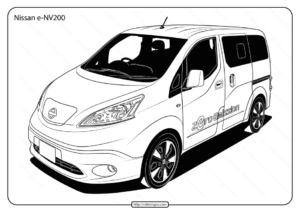 Free Printable Nissan e-NV200 Pdf Coloring Page