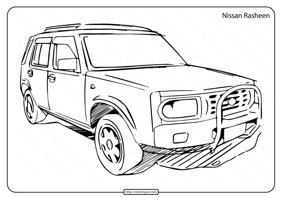 Free Printable Nissan Rasheen Pdf Coloring Page