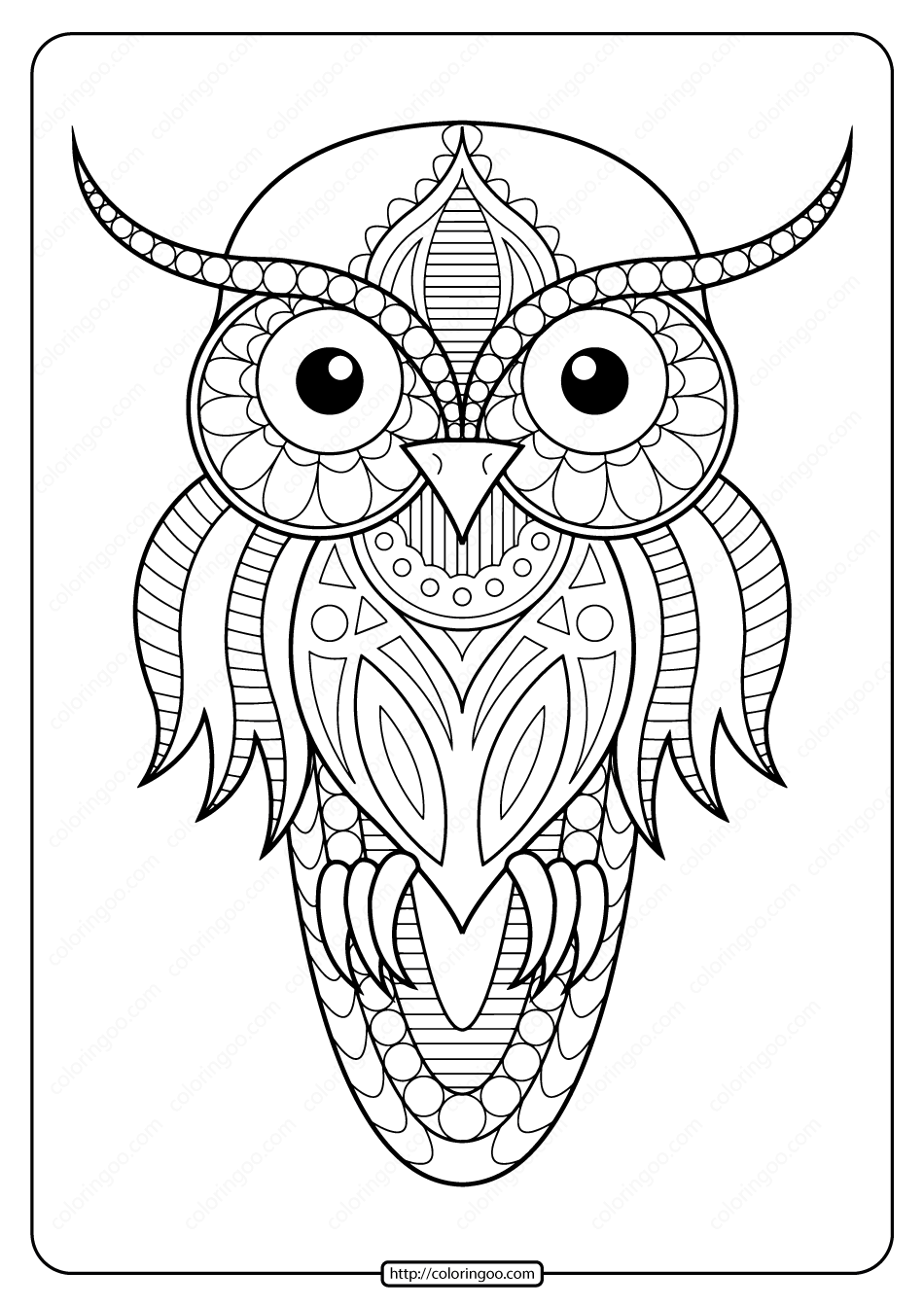 Free Printable Owl Animal Coloring Page