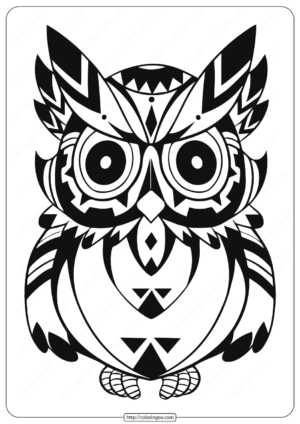 Free Printable Owl Animal Coloring Page - 002