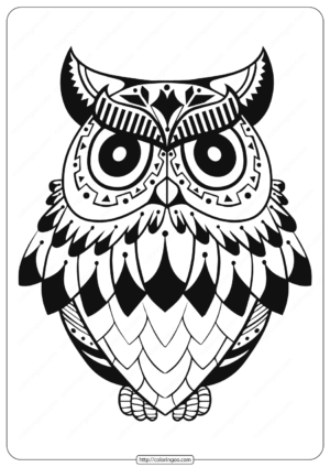 Free Printable Owl Animal Coloring Page - 003