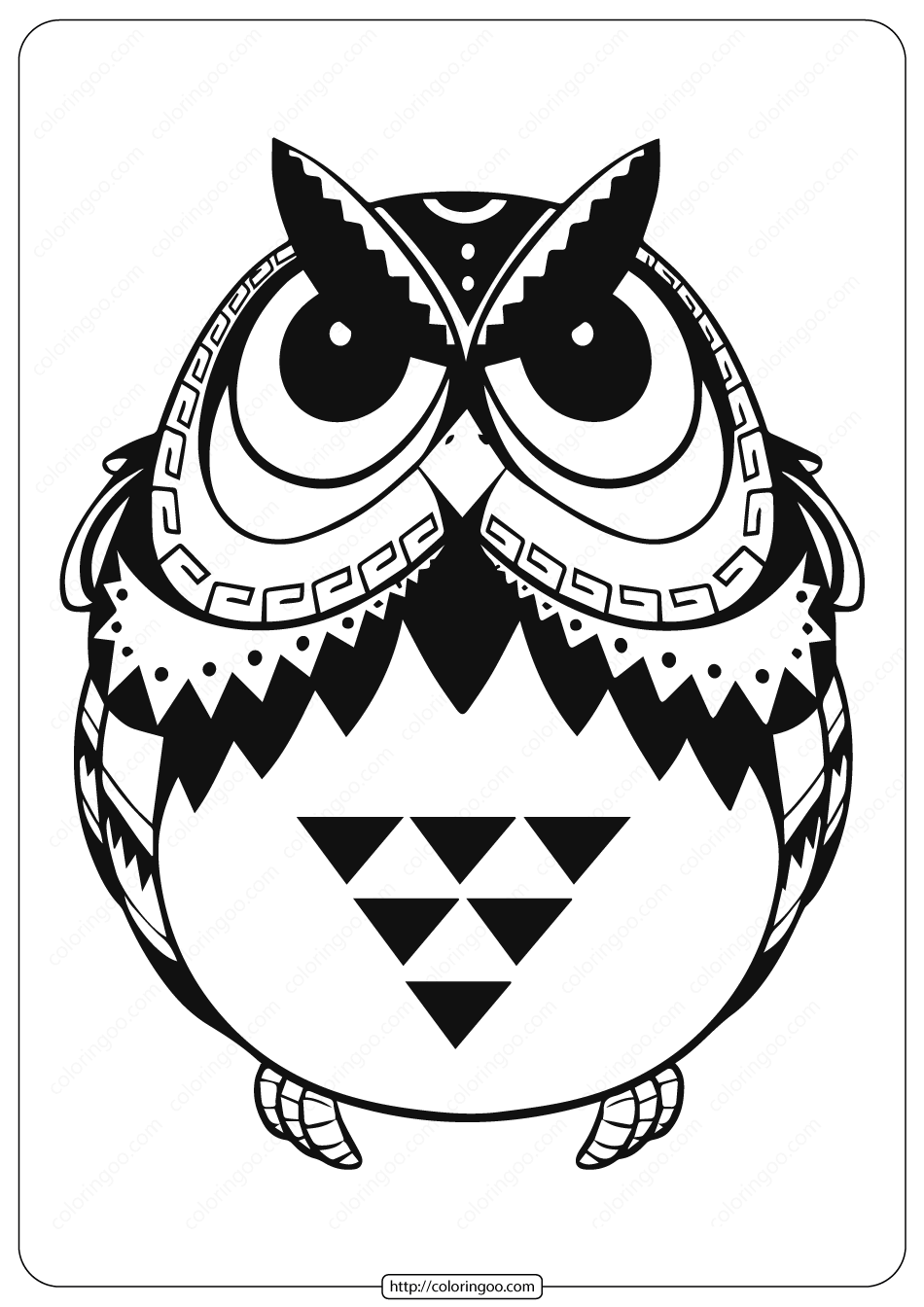 Free Printable Owl Animal Coloring Page - 004