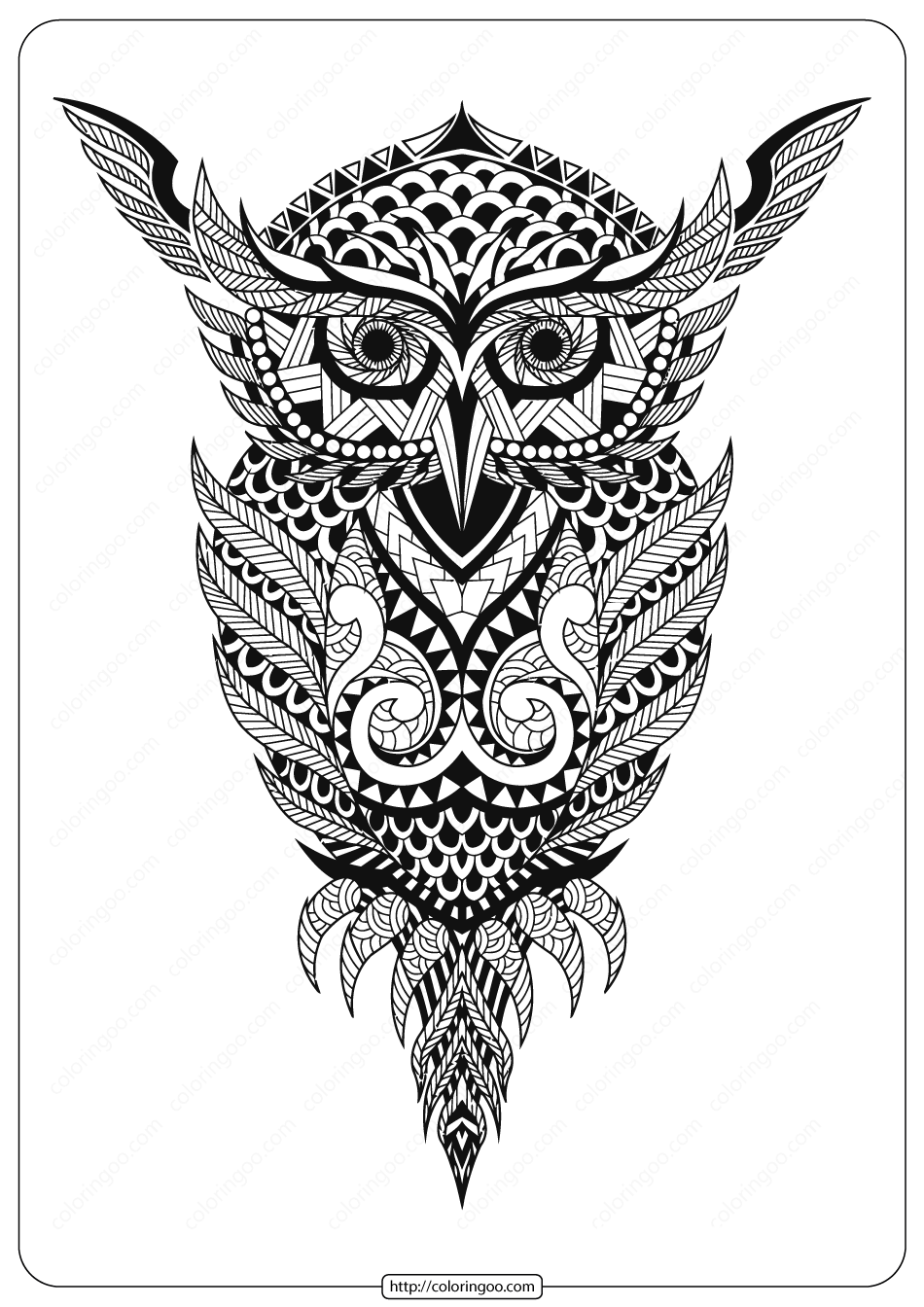 Free Printable Owl Animal Coloring Page - 005
