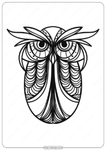 Free Printable Owl Animal Coloring Page - 007