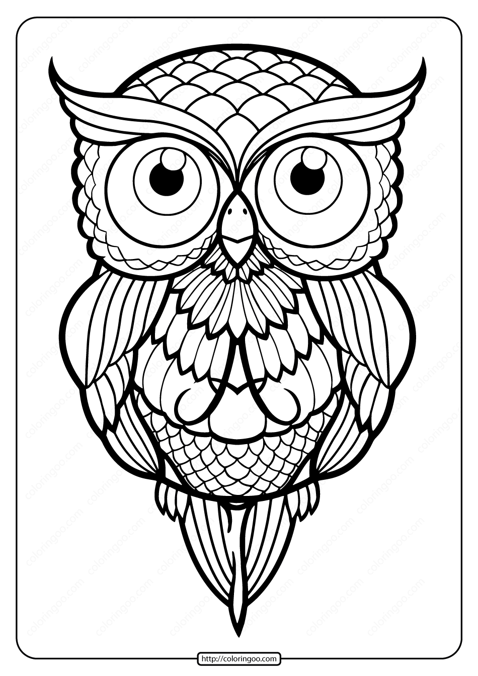 Free Printable Owl Tattoo Pdf Coloring Page