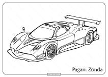 Free Printable Pagani Zonda Pdf Coloring Page