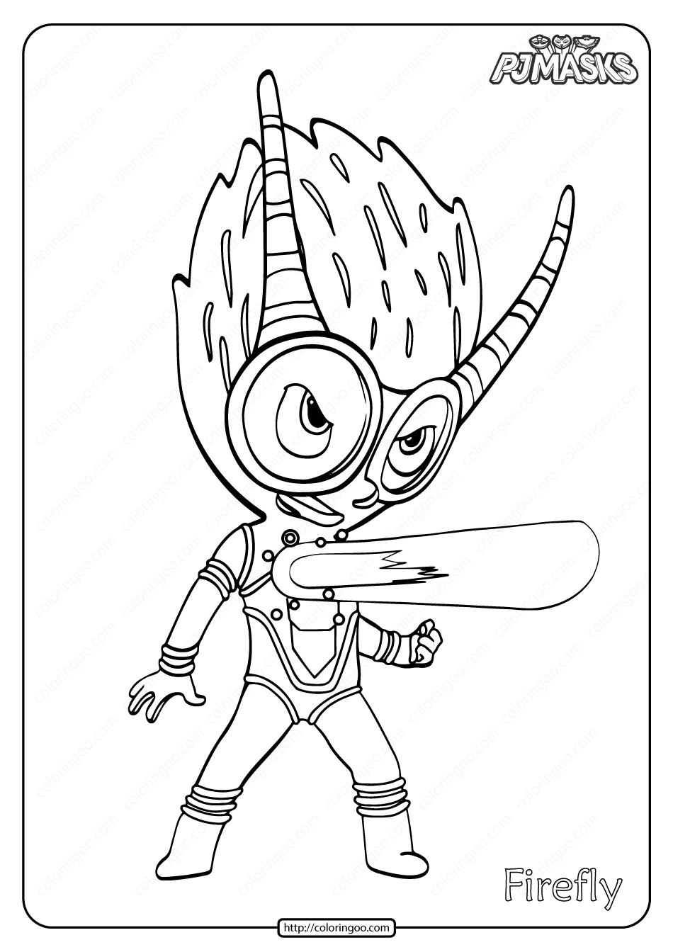 Free Printable PJ Masks Firefly Pdf Coloring Page
