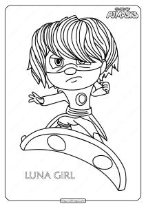 Printable PJ Masks Luna Girl Pdf Coloring Pages