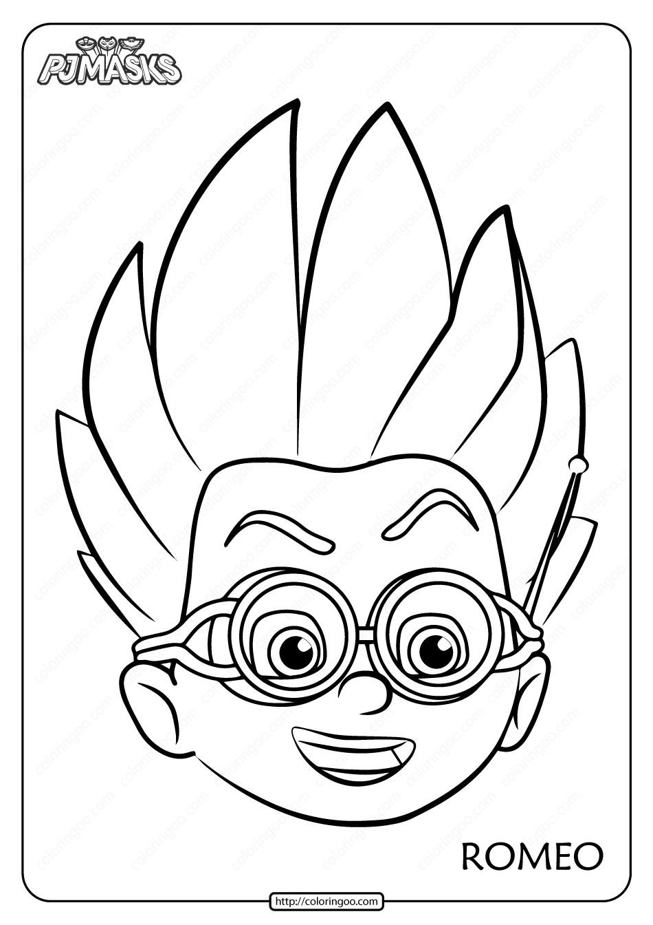 Free Printable PJ Masks Romeo Mask Coloring Page