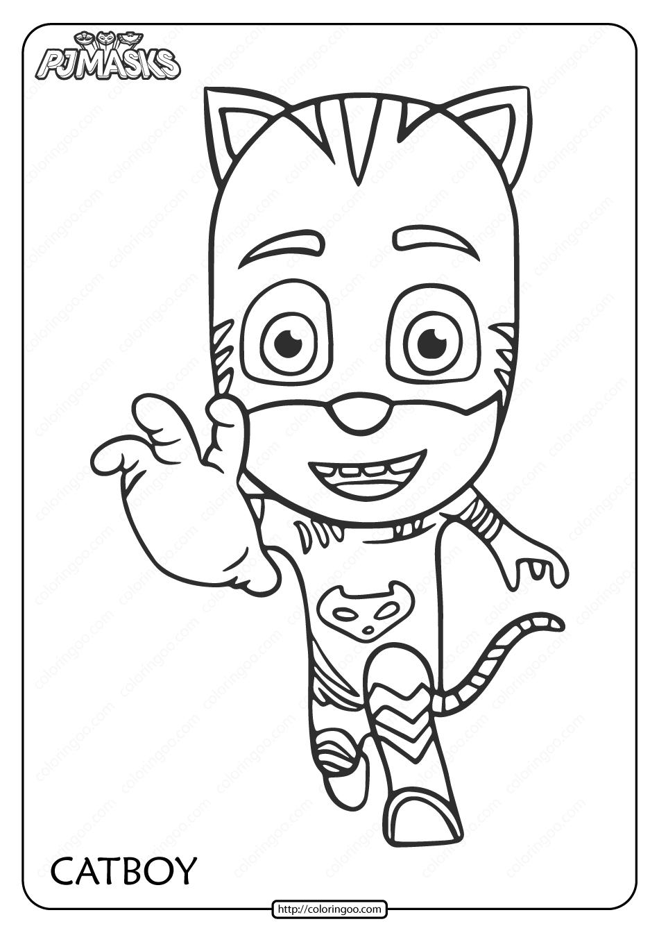 Free Printable PJ Masks Catboy Pdf Coloring Page