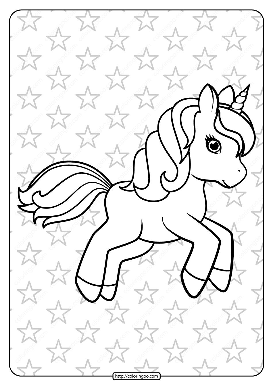 Free Printable Prancing Unicorn Pdf Coloring Page