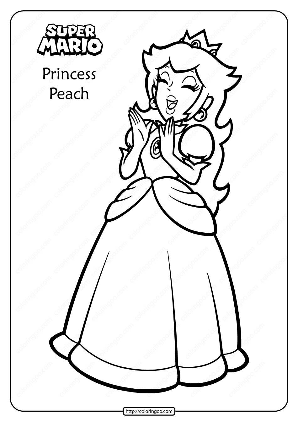 free} printable coloring page Princess Peach | Super mario ... | 1344x950