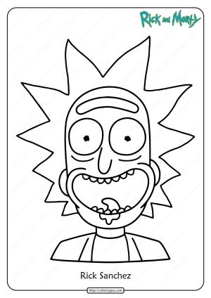 Free Printable Rick Sanchez Pdf Coloring Page