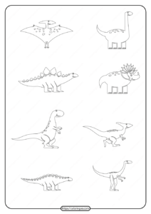 Free Printable Simple Dinosaur Drawings Page