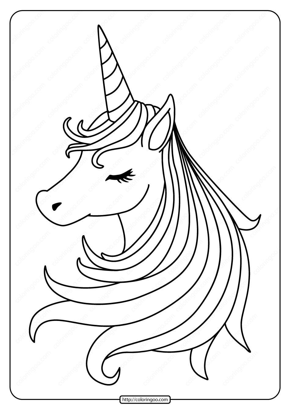 Free Printable Sleeping Unicorn Pdf Coloring Page