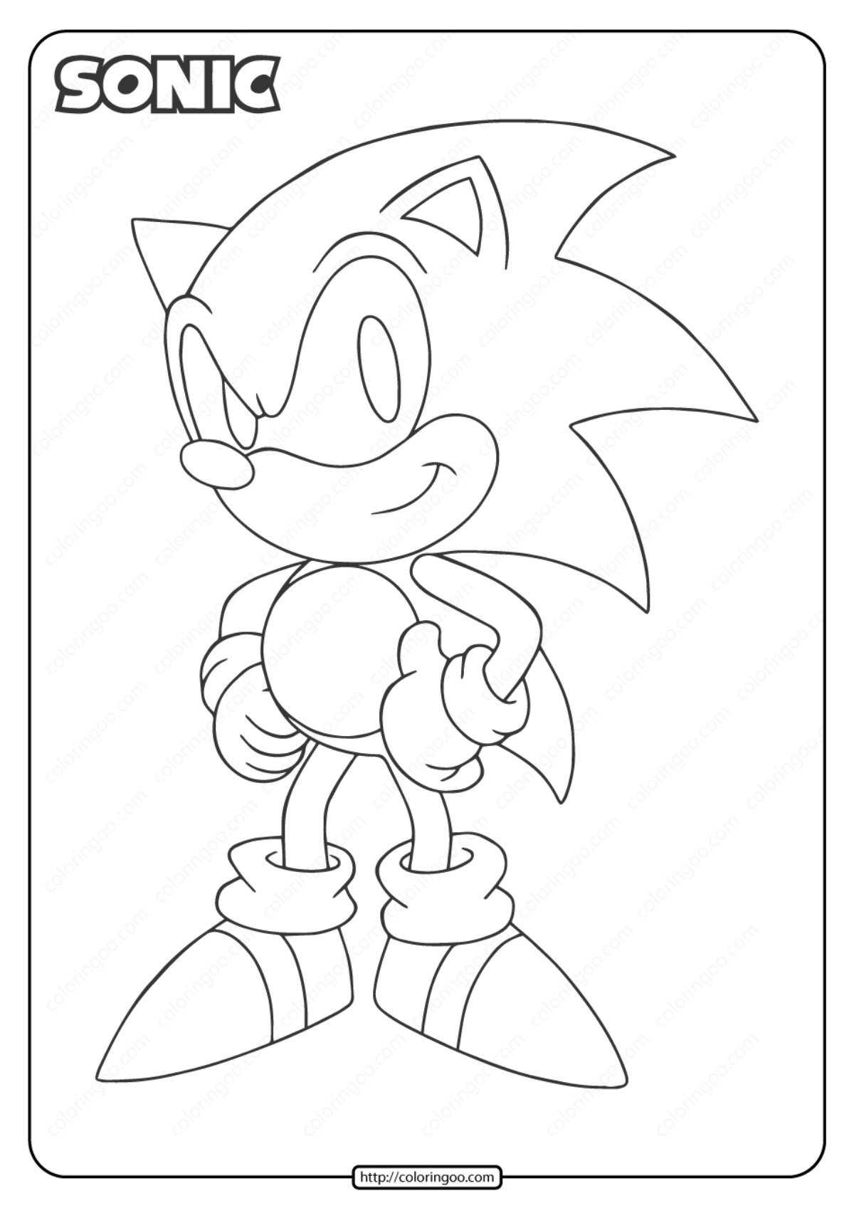 Free Printable Sonic Pdf Coloring Page