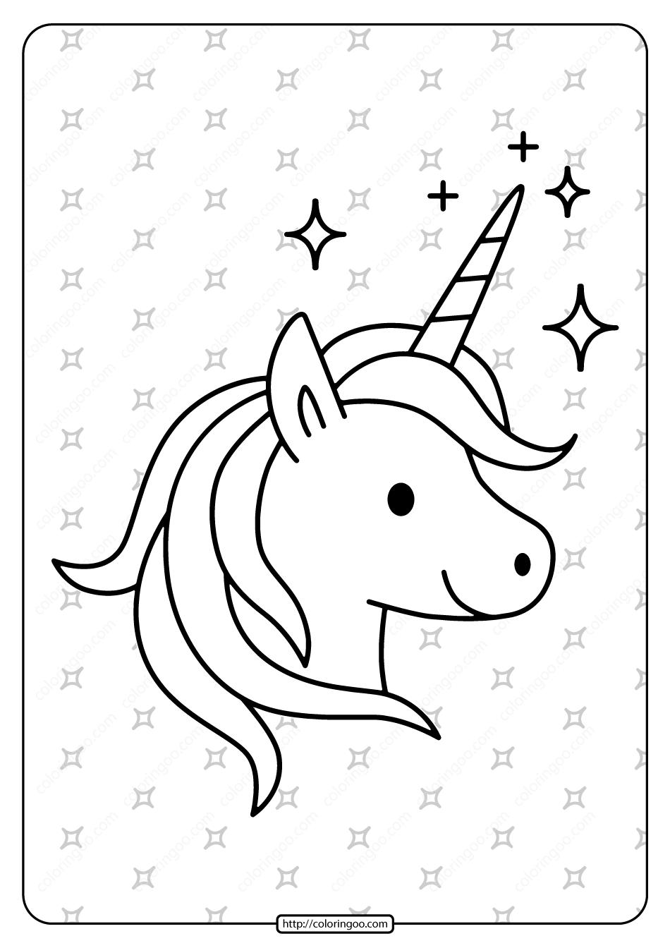 Free Printable Sparkling Unicorn Pdf Coloring Page