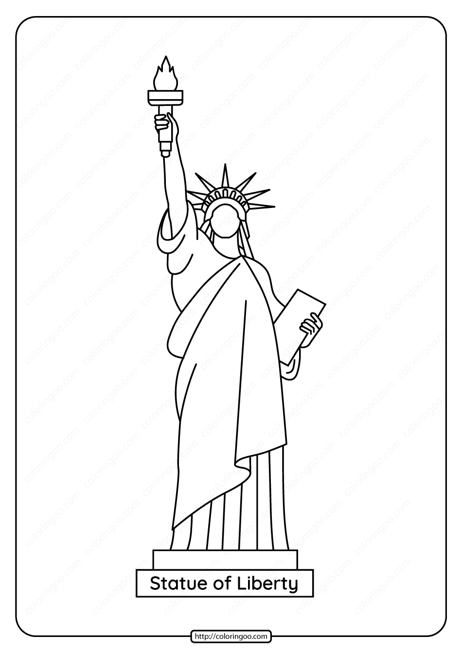 - Free Printable Statue Of Liberty Pdf Coloring Page