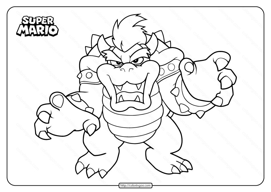 Free Printable Super Mario Bowser Coloring Page