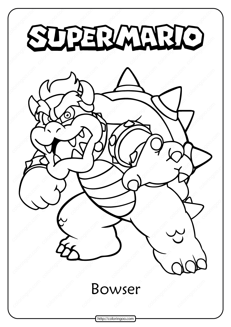 Free Printable Super Mario Bowser Pdf Coloring Page