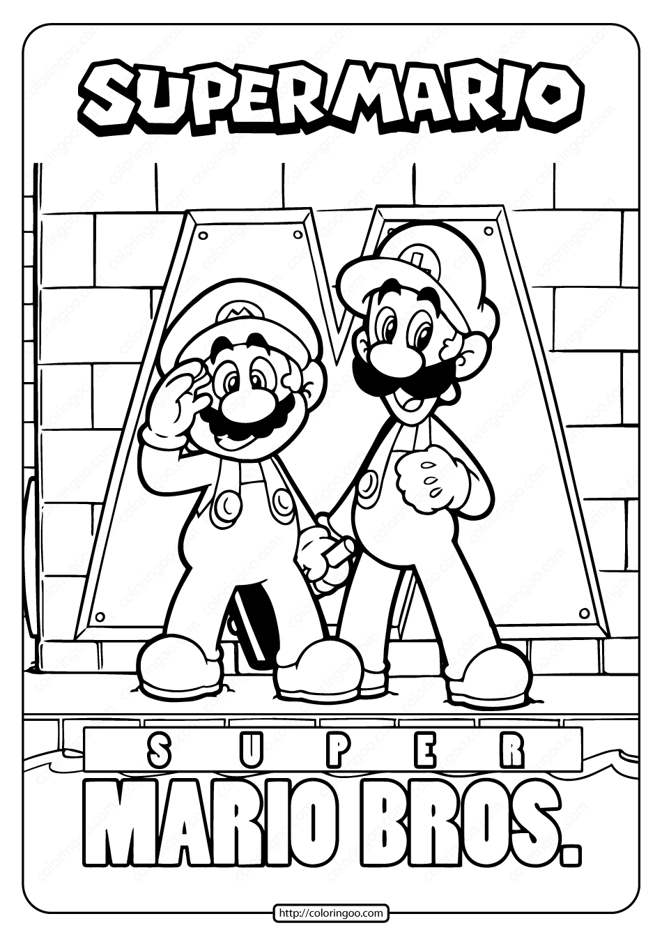 Free Printable Super Mario Bros Coloring Page