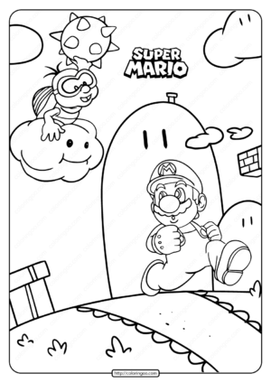 Free Printable Super Mario Game Coloring Page