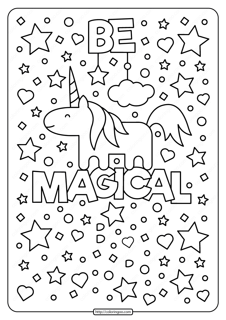 Free Printable Unicorn Be Magical Coloring Page