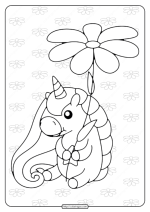 Printable Unicorn Holding a Flower Coloring Page