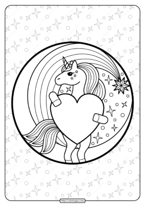 Printable Unicorn Holding a Heart Coloring Page