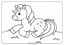 Printable Unicorn Laying on Grass Coloring Page